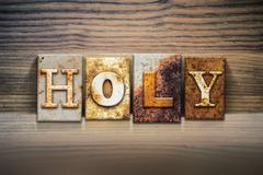 Holy Concept Letterpress Theme Stock Photos