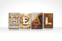 Heal Letterpress Concept Isolated on White - stock photo