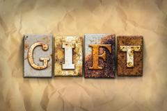 Gift Concept Rusted Metal Type - stock photo