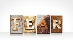 Stock Photo of Fear Letterpress Concept Isolated on White