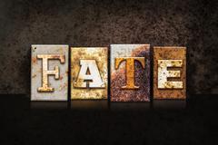 Fate Letterpress Concept on Dark Background - stock photo