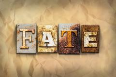 Fate Concept Rusted Metal Type Stock Photos