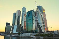 Moscow-city (Moscow International Business Center) at evening - stock photo