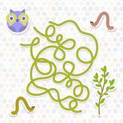 Owl bird labyrinth game for Preschool Children. Vector Stock Illustration