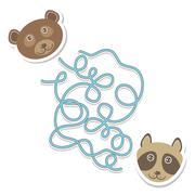 bear raccoon labyrinth game for Preschool Children. Vector - stock illustration