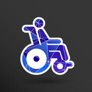 handicapped chair wheelchair invalid transport logo icon - stock illustration