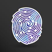 Fingerprint icon finger print vector id theft macro stamp Stock Illustration