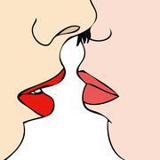 Stock Illustration of Desire between two women
