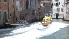 Ambulance Races through Venice Canal Stock Footage