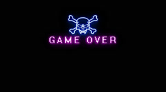 Stock Video Footage of Game Over Neon Sign Alpha Channel