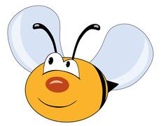 Cute bee character isolated on white - stock illustration
