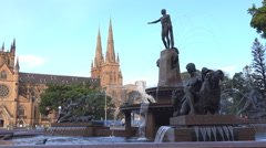 Archibald Fountain by St Marys Church, Sydney Stock Footage