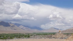 TIMELAPSE Gompa,town and clouds,Choglamsar,Ladakh,India Stock Footage