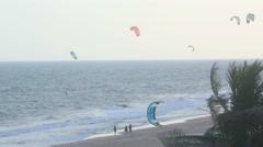 Kitesurfers beach Stock Footage