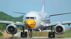 NOK Air Boeing 737 taxiing after landing Stock Footage