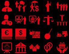 Bank service and people occupation icon set - stock illustration