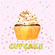 Cupcake - stock illustration