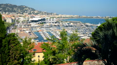 Cannes, France Cityscape and Marina. - stock footage