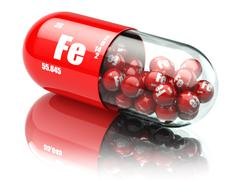 Pills with iron FE element Dietary supplements. Vitamin capsules. - stock illustration