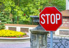 Stop sign closeup - stock photo