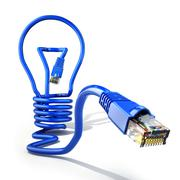 Start up internet business idea concept. Light bulb and lan cable. Stock Illustration