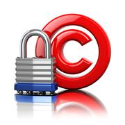 Copyright symbol with lock. Protection concept. - stock illustration