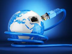 Internet global comunication concept. Earth and ethernet cable on blue backgr Stock Illustration