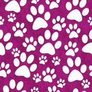 Pink and White Dog Paw Prints Tile Pattern Repeat Background - stock illustration
