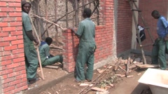 Pause in Construction Works on Building School in Rwanda - stock footage