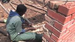 Timber Processing and Construction Work on Building School in Rwanda Stock Footage