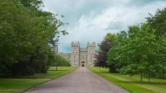 Windsor Castle and park green trees, establishing shot Stock Footage