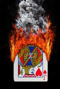 Playing card with fire and smoke - stock illustration