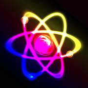 Shining atom vector scheme - stock illustration