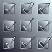 Vector confirm icons set. Yes icon. Check Mark icon.   Mettalic Stock Illustration