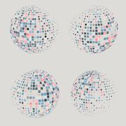 Collection of halftone sphere vector logo template. Abstract globe symbol Stock Illustration
