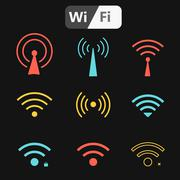 Stock Illustration of Set of wifi icons for business or commercial use