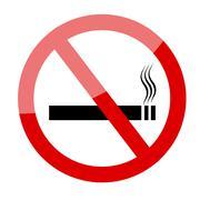 No smoking sign. Smoking prohibited symbol isolated on white background - stock illustration