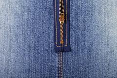 Jeans zipper close up - stock photo