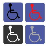 Disabled icon. Human on wheelchair symbol. Handicapped invalid sign - stock illustration