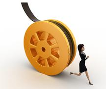 3d woman running from rolling film roll after her concept Stock Illustration