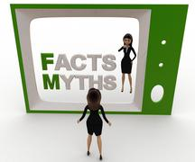 3d woman watching fact and myths on tv concept Stock Illustration