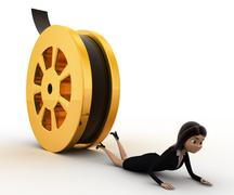 3d woman about to crush by rolling film reel concept - stock illustration
