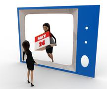 3d woman watching woman with calender on tv concept - stock illustration