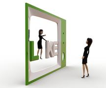 3d woman watching like on tv concept Stock Illustration