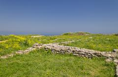 Remains of the medieval fortress on cape Kaliakra, Bulgaria - stock photo