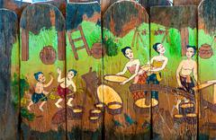 Traditional Thai style art stories of religion - stock photo