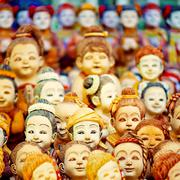 Mob of doll faces Stock Photos