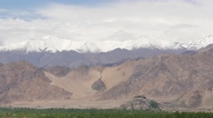 TIMELAPSE  Ticksey Gompa seen from Stakna,Ticksey,Ladakh,India Stock Footage