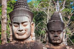 Face. Angkor Wat/ Angkor Thom. Cambodia - stock photo