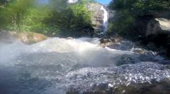Engstligen waterfalls and the River in Adelboden, Switzerland. - stock footage